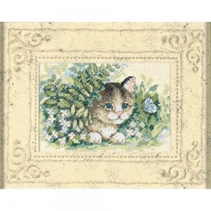 6957 Matted Accents Kitten & Butterfly